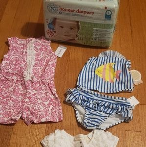 Girl 12mth old summer clothes and diapers